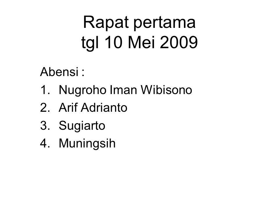 Rapat pertama tgl 10 Mei 2009 Abensi : 1.Nugroho Iman Wibisono 2.Arif Adrianto 3.Sugiarto 4.Muningsih