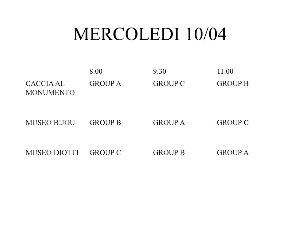 MERCOLEDI 10/04 8.009.3011.00 CACCIA AL MONUMENTO GROUP AGROUP CGROUP B MUSEO BIJOUGROUP BGROUP AGROUP C MUSEO DIOTTIGROUP CGROUP BGROUP A