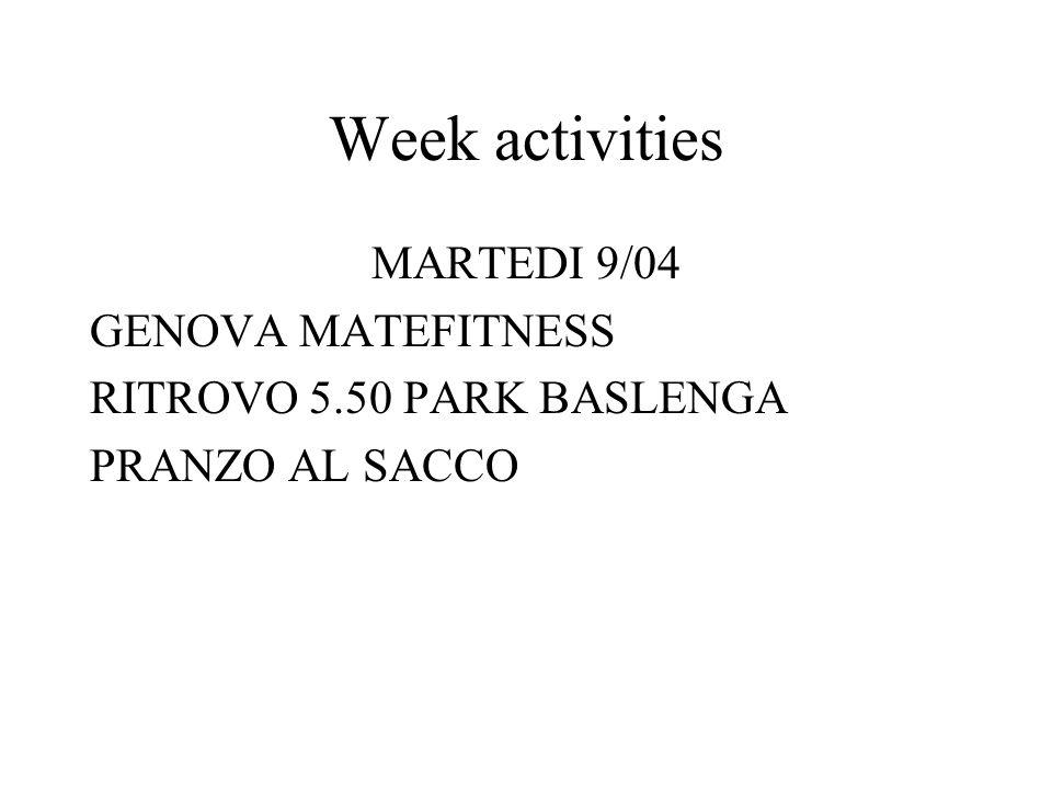 Week activities MARTEDI 9/04 GENOVA MATEFITNESS RITROVO 5.50 PARK BASLENGA PRANZO AL SACCO