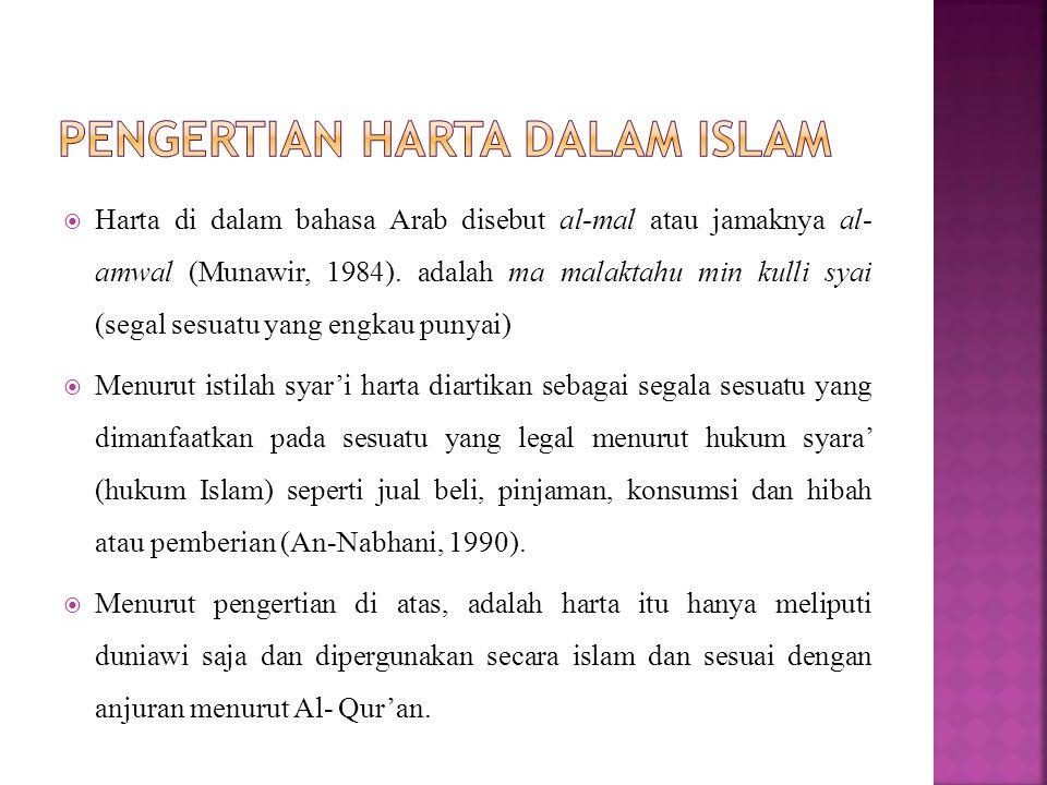 Harta di dalam bahasa Arab disebut al-mal atau jamaknya al- amwal (Munawir, 1984).