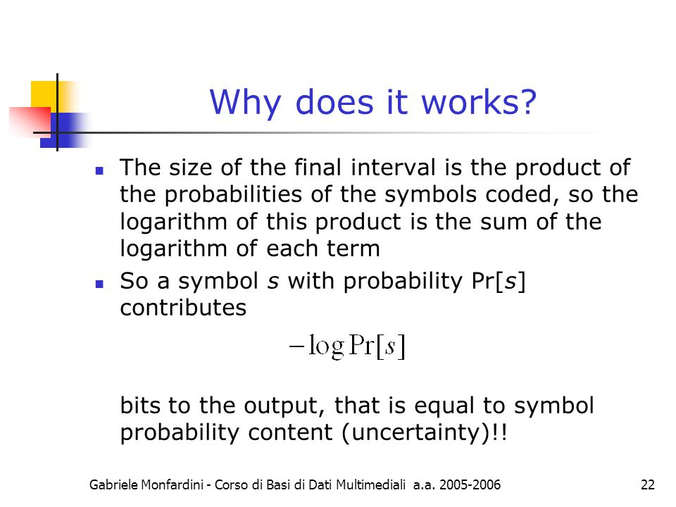 Gabriele Monfardini - Corso di Basi di Dati Multimediali a.a. 2005-200622 Why does it works? The size of the final interval is the product of the prob