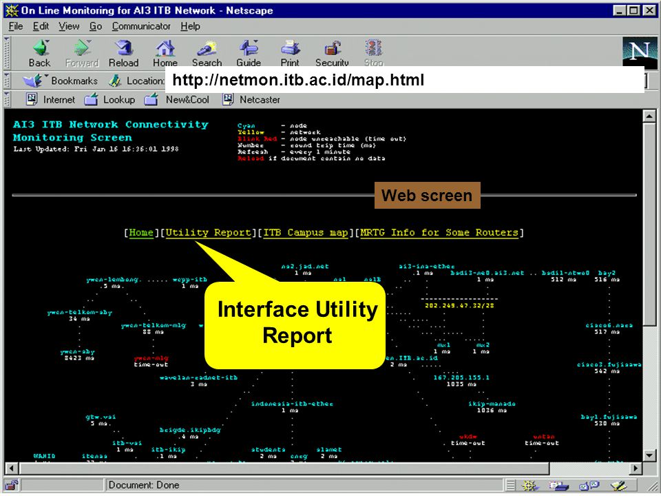http://netmon.itb.ac.id/map.html Text Map Timeout alarm E-mail to Administrator