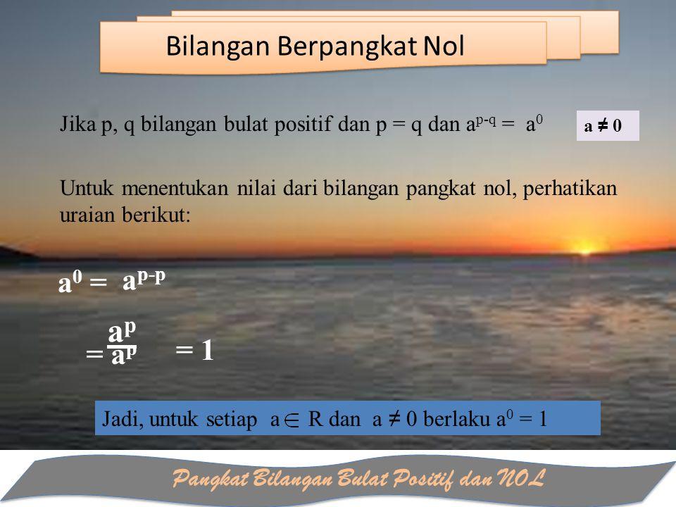 Pangkat Bilangan Bulat Positif dan NOL Bilangan Berpangkat Nol Jika p, q bilangan bulat positif dan p = q dan a p-q = a 0 Untuk menentukan nilai dari