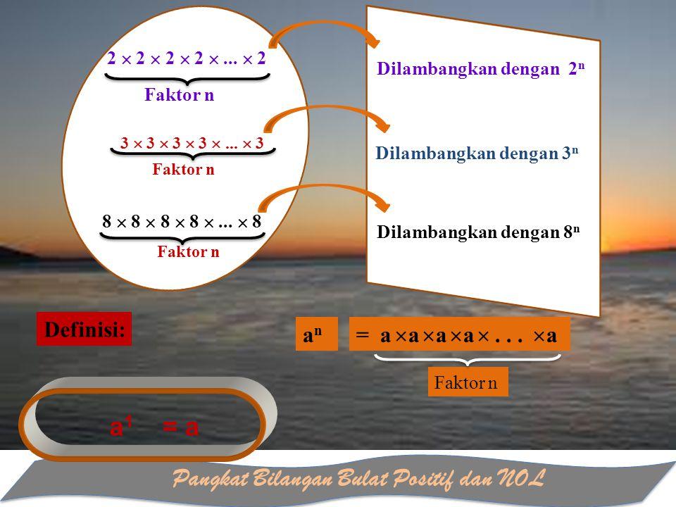 Pangkat Bilangan Bulat Positif dan NOL Faktor n Dilambangkan dengan 2 n 3  3  3  3 ...  3 Dilambangkan dengan 3 n 8  8  8  8 ...  8 Dilamban