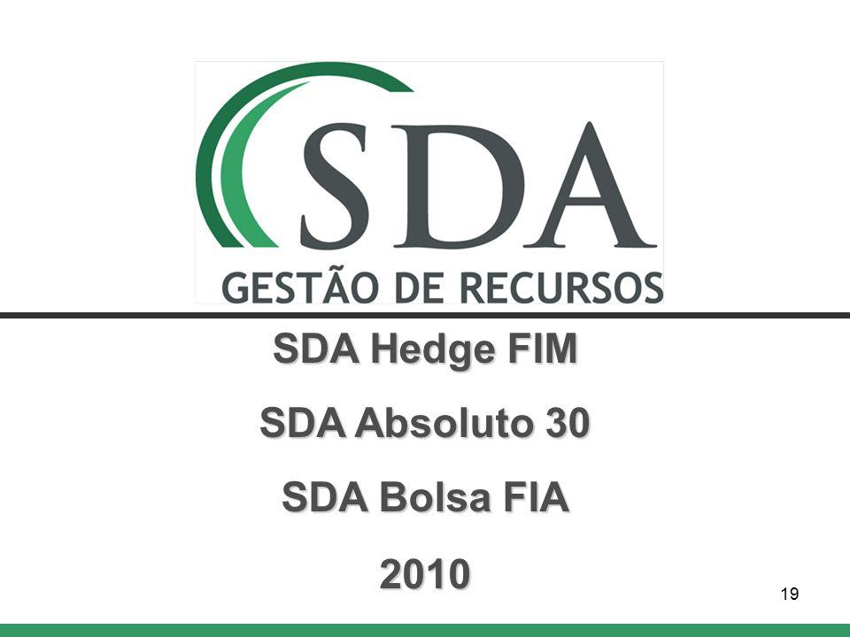 19 SDA Hedge FIM SDA Absoluto 30 SDA Bolsa FIA 2010
