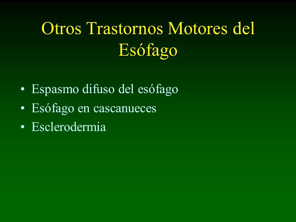 Otros Trastornos Motores del Esófago Espasmo difuso del esófago Esófago en cascanueces Esclerodermia