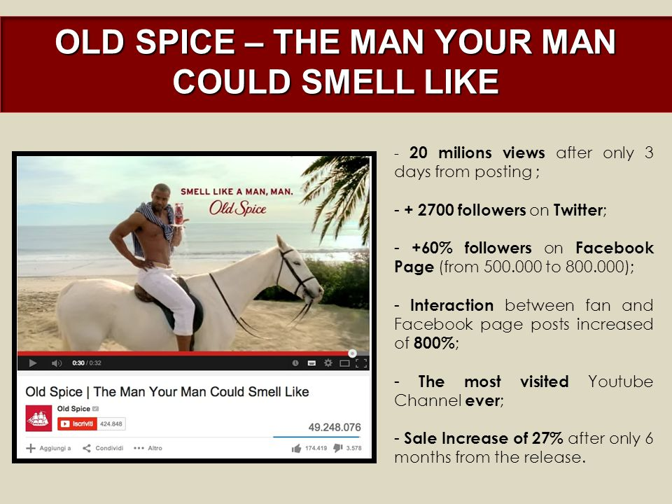 OLD SPICE – THE MAN YOUR MAN COULD SMELL LIKE - 20 milions views after only 3 days from posting ; - + 2700 followers on Twitter ; - +60% followers on Facebook Page (from 500.000 to 800.000); - Interaction between fan and Facebook page posts increased of 800% ; - The most visited Youtube Channel ever ; - Sale Increase of 27% after only 6 months from the release.