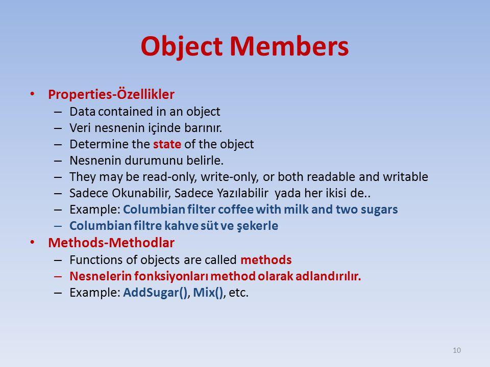 Object Members Properties-Özellikler – Data contained in an object – Veri nesnenin içinde barınır.