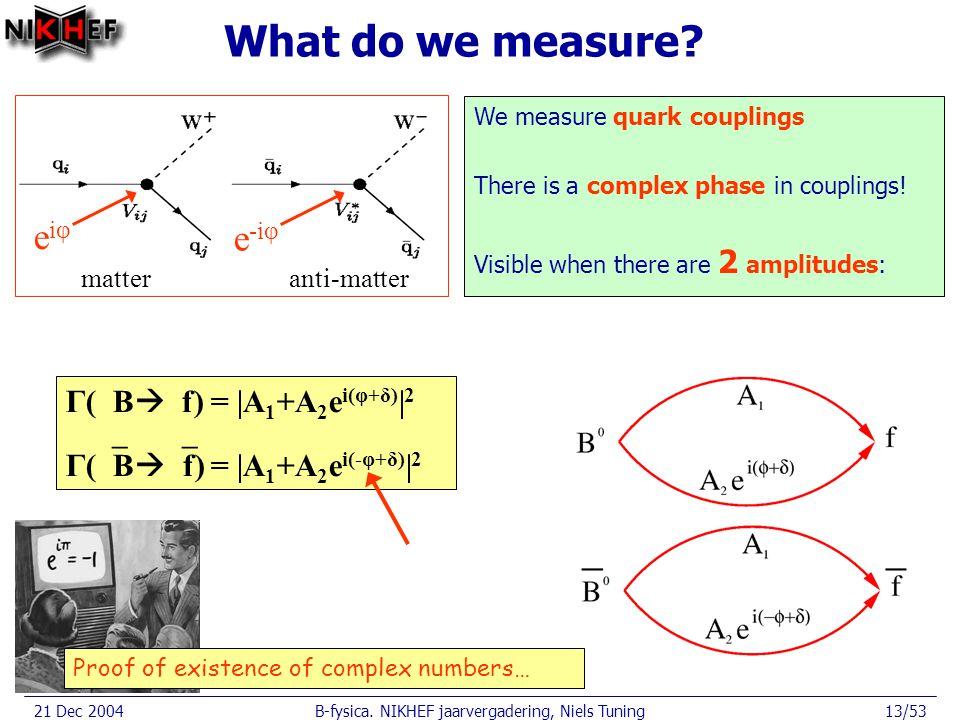 21 Dec 2004B-fysica. NIKHEF jaarvergadering, Niels Tuning13/53 What do we measure.