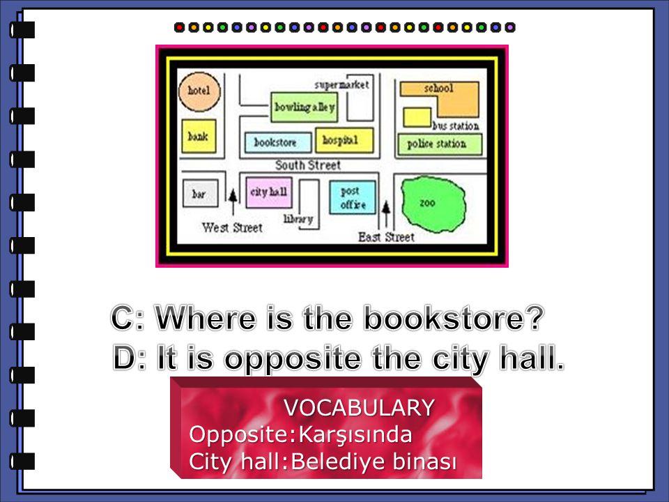 VOCABULARY VOCABULARYOpposite:Karşısında City hall:Belediye binası