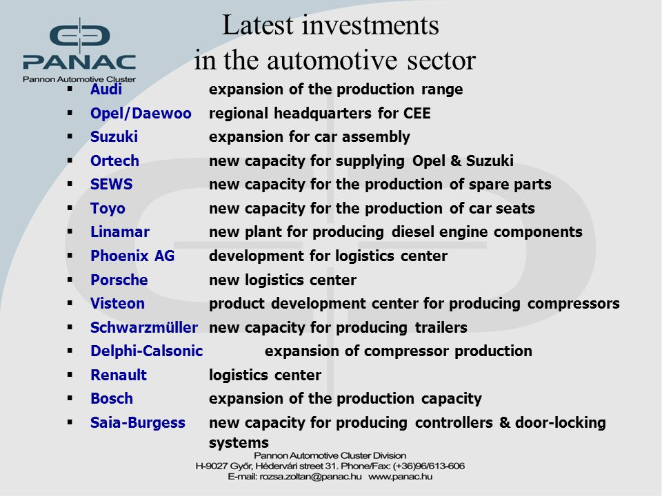 Latest investments in the automotive sector  Audi expansion of the production range  Opel/Daewoo regional headquarters for CEE  Suzuki expansion for car assembly  Ortech new capacity for supplying Opel & Suzuki  SEWS new capacity for the production of spare parts  Toyo new capacity for the production of car seats  Linamar new plant for producing diesel engine components  Phoenix AG development for logistics center  Porsche new logistics center  Visteon product development center for producing compressors  Schwarzmüller new capacity for producing trailers  Delphi-Calsonic expansion of compressor production  Renaultlogistics center  Boschexpansion of the production capacity  Saia-Burgess new capacity for producing controllers & door-locking systems