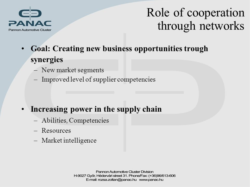Role of cooperation through networks Goal: Creating new business opportunities trough synergies –New market segments –Improved level of supplier competencies Increasing power in the supply chain –Abilities, Competencies –Resources –Market intelligence