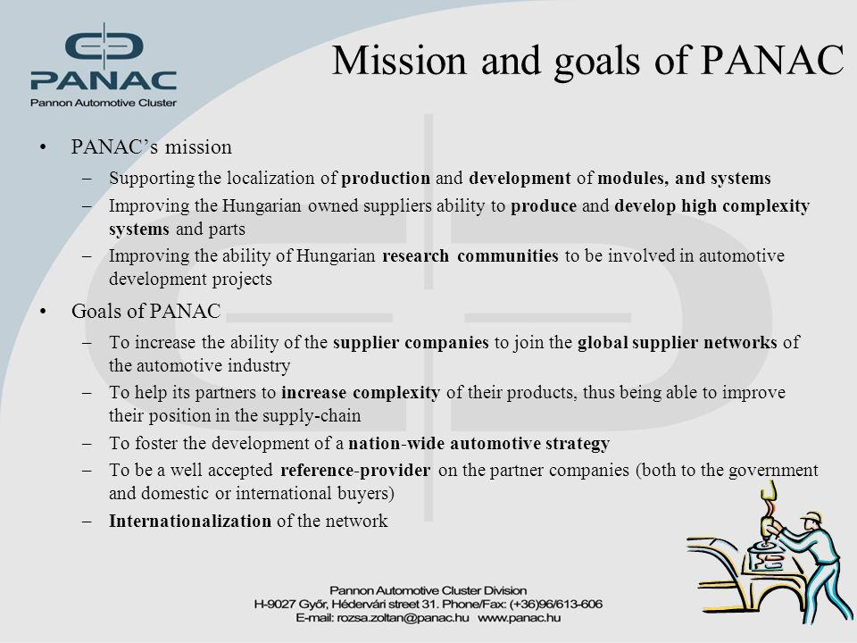 Mission and goals of PANAC PANAC's mission –Supporting the localization of production and development of modules, and systems –Improving the Hungarian