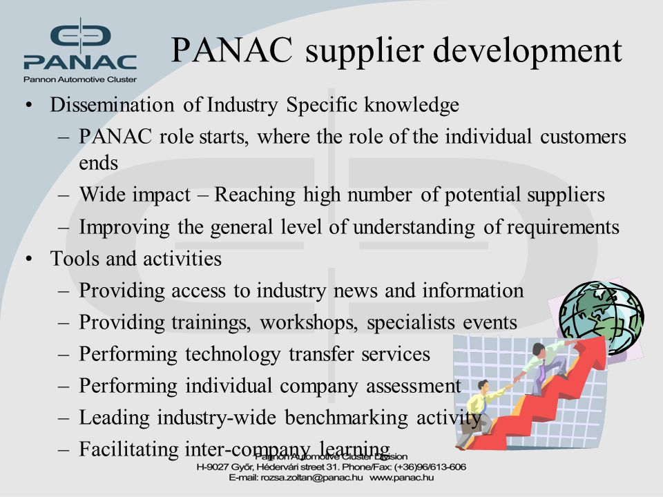 PANAC supplier development Dissemination of Industry Specific knowledge –PANAC role starts, where the role of the individual customers ends –Wide impact – Reaching high number of potential suppliers –Improving the general level of understanding of requirements Tools and activities –Providing access to industry news and information –Providing trainings, workshops, specialists events –Performing technology transfer services –Performing individual company assessment –Leading industry-wide benchmarking activity –Facilitating inter-company learning