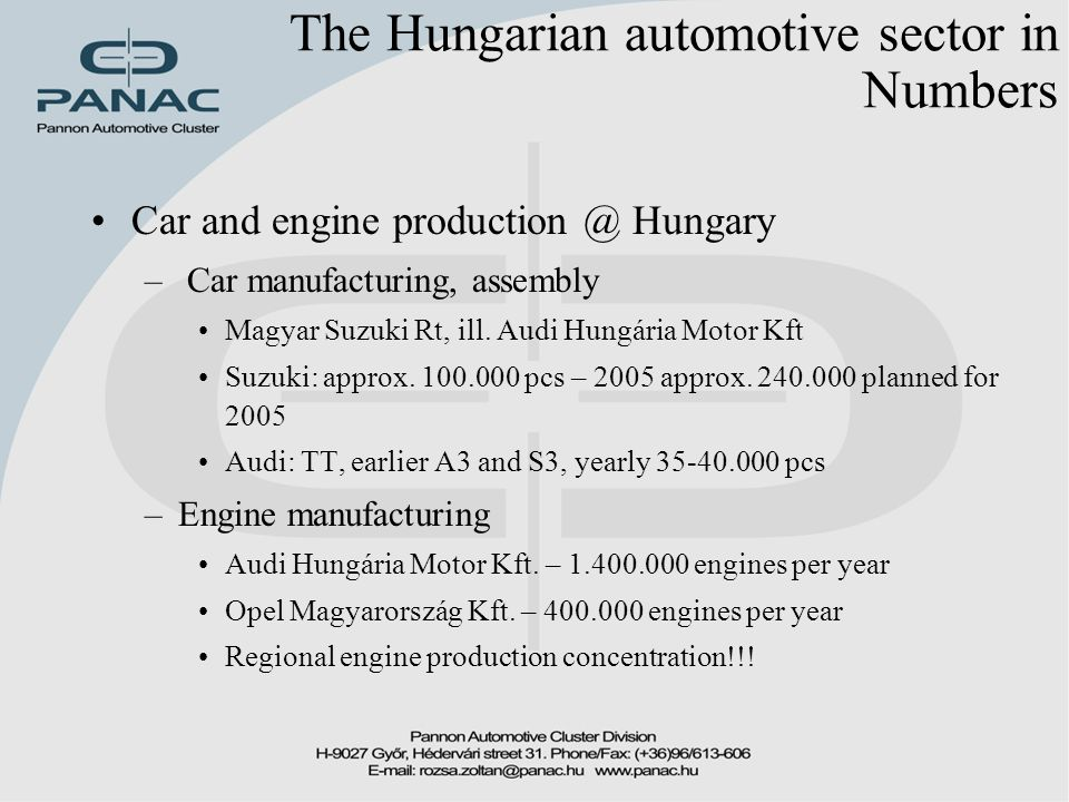 The Hungarian automotive sector in Numbers Car and engine production @ Hungary – Car manufacturing, assembly Magyar Suzuki Rt, ill.