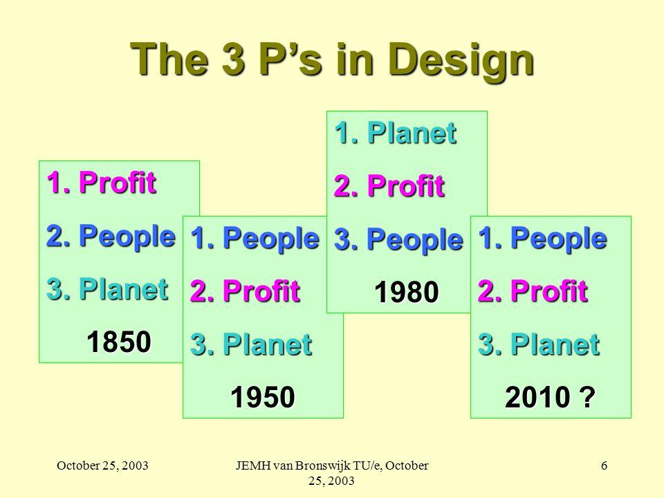 October 25, 2003JEMH van Bronswijk TU/e, October 25, 2003 6 The 3 P's in Design 1.