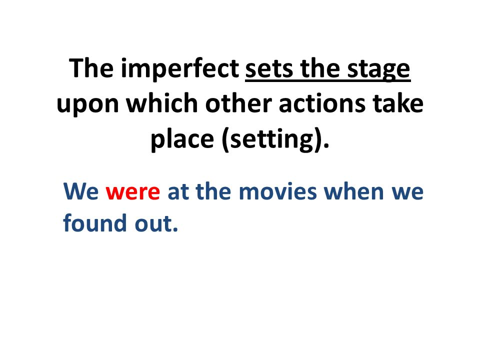 The imperfect sets the stage upon which other actions take place (setting).