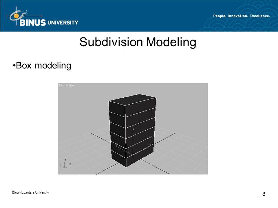 Bina Nusantara University 8 Subdivision Modeling Box modeling