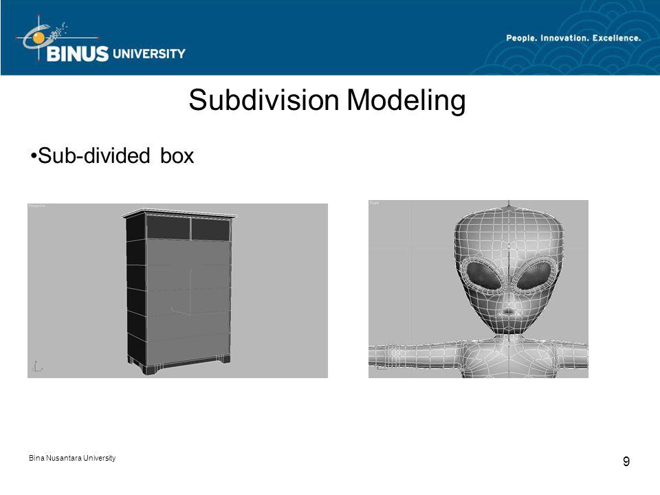 Bina Nusantara University 9 Subdivision Modeling Sub-divided box
