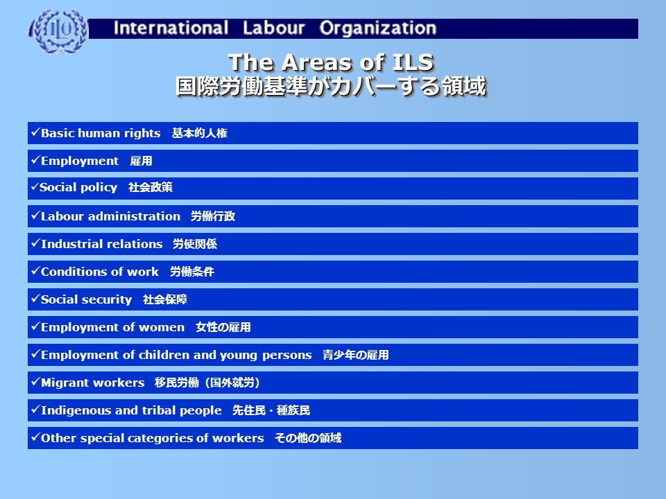 Selection of recent Japan cases before the Conference Committee (最近、総会の条約勧告適用委員会が取り上げた日本案件) 2004: Workers with family responsibilities Convention (C.n°156 ) ( 2004 年: 156 号条約案件) 2002: Right to organize and collective bargaining (C.n°98) ( 2002 年: 98 号条約案件) 2001: Freedom of association and protection of the right to organize (C.n°87) ( 2001 年: 87 号条約案件)