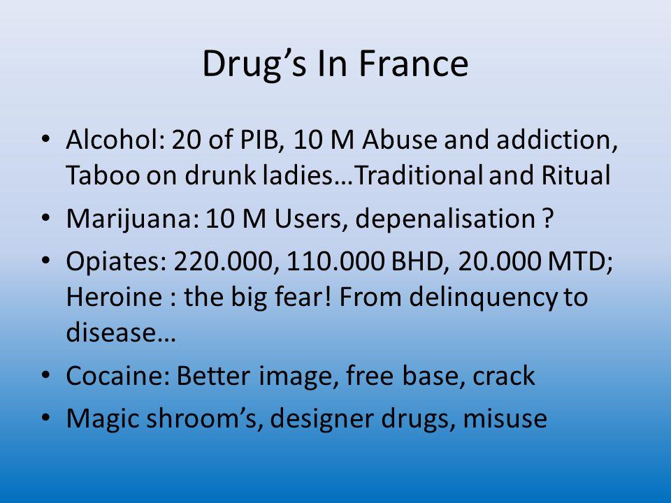 Skadereduction I Frankrike 73: Methadone / the dealers in white 80-90 AIDS 87: decriminalisation of syringes 89 :PES 92 :ASUD 94 :Methadone centers 95 :Methadone on prescription 96 : BHD on prescription, by GP's 01:Methadone bus 05:Harm reduction is a public health policie