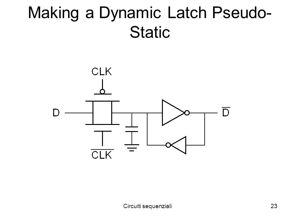 Circuiti sequenziali23 Making a Dynamic Latch Pseudo- Static