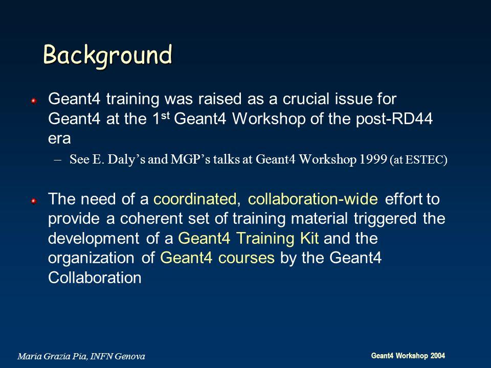 Geant4 Workshop 2004 Maria Grazia Pia, INFN Genova Background Geant4 training was raised as a crucial issue for Geant4 at the 1 st Geant4 Workshop of the post-RD44 era –See E.
