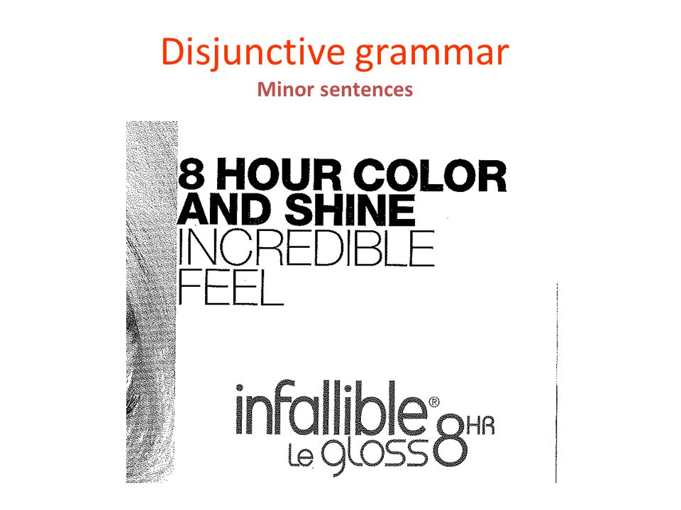 Disjunctive grammar Minor sentences