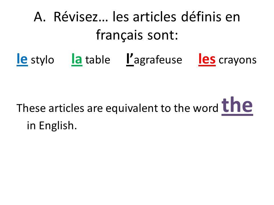 Les articles indéfinis Grammaire