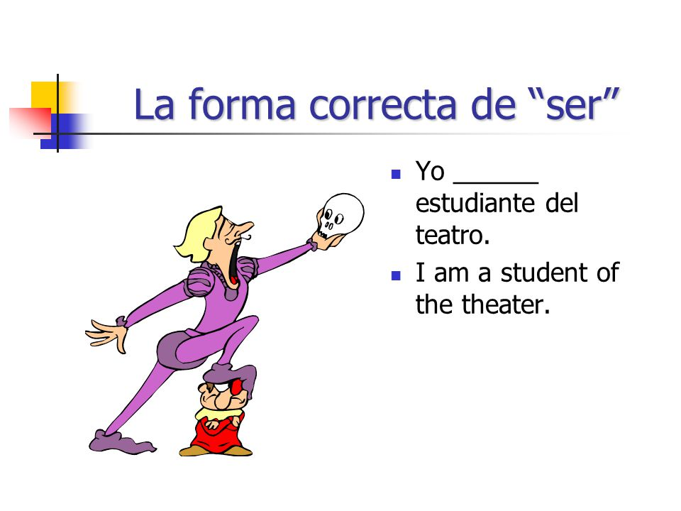 La forma correcta de ser Yo ______ estudiante del teatro. I am a student of the theater.