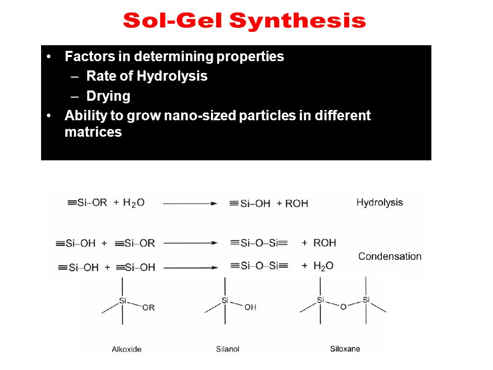 Factors in determining properties –Rate of Hydrolysis –Drying Ability to grow nano-sized particles in different matrices