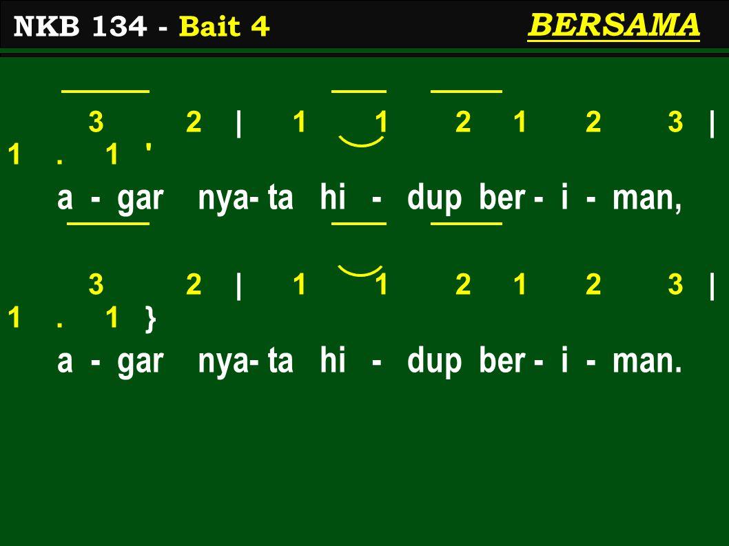3 2 | 1 1 2 1 2 3 | 1.1 a - gar nya- ta hi - dup ber - i - man, 3 2 | 1 1 2 1 2 3 | 1.