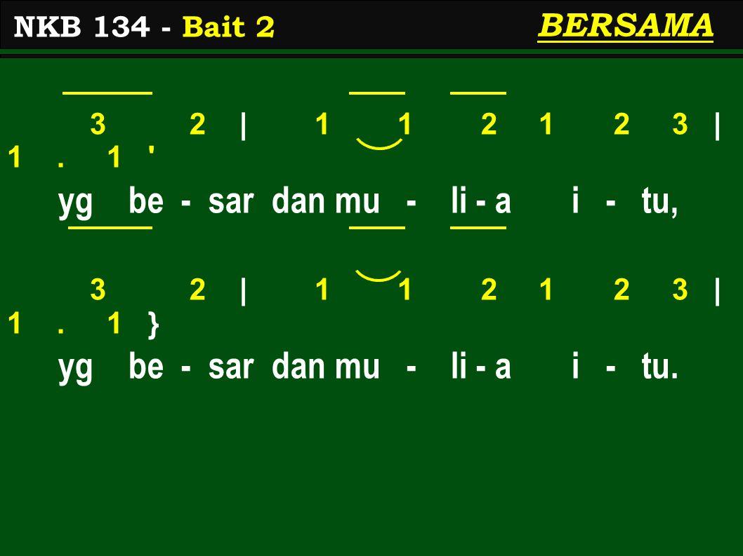 3 2 | 1 1 2 1 2 3 | 1.1 yg be - sar dan mu - li - a i - tu, 3 2 | 1 1 2 1 2 3 | 1.