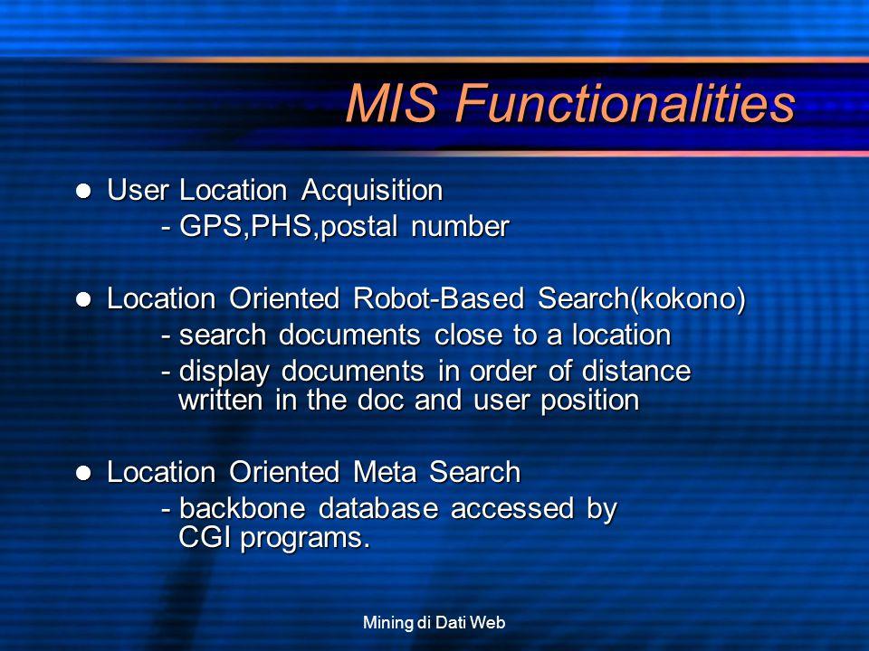 Mining di Dati Web MIS Functionalities User Location Acquisition User Location Acquisition - GPS,PHS,postal number Location Oriented Robot-Based Searc