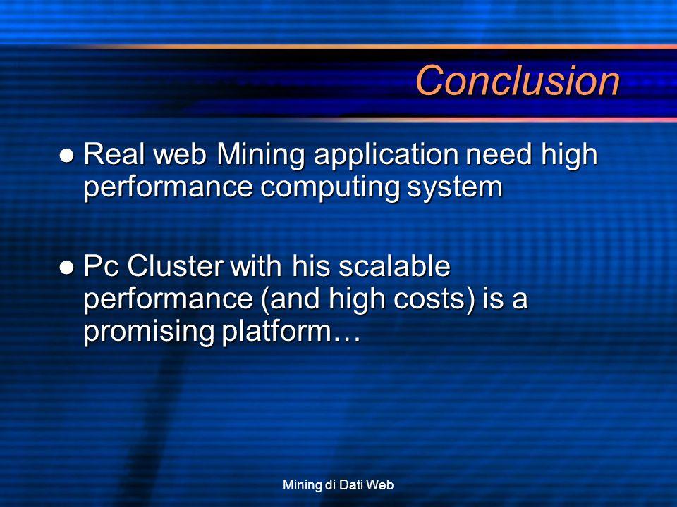 Mining di Dati Web Conclusion Real web Mining application need high performance computing system Real web Mining application need high performance com