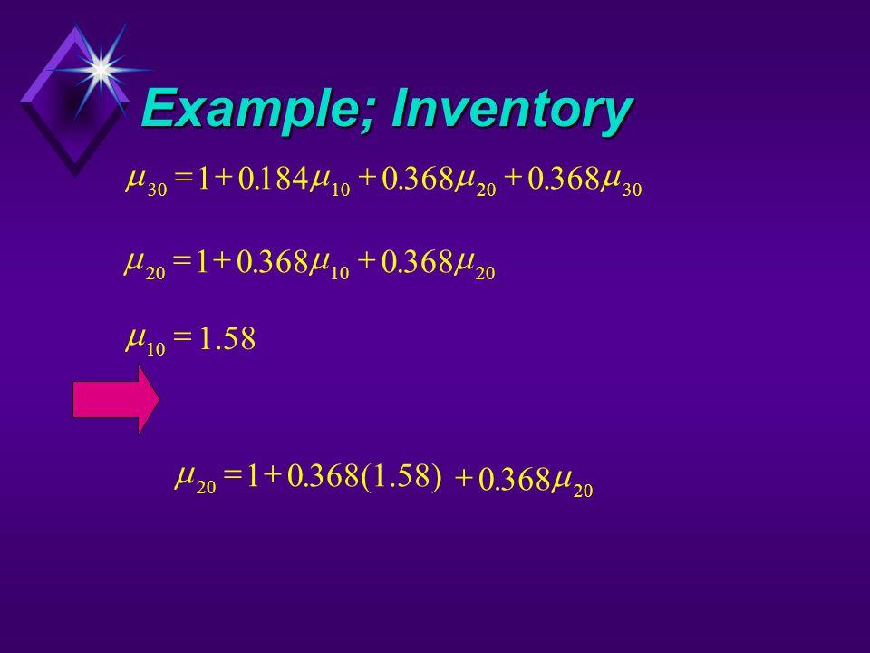 Example; Inventory   20 10368(1.58) 0368  ..  30102030 1018403680 ...  201020 103680 ..  10  1.58
