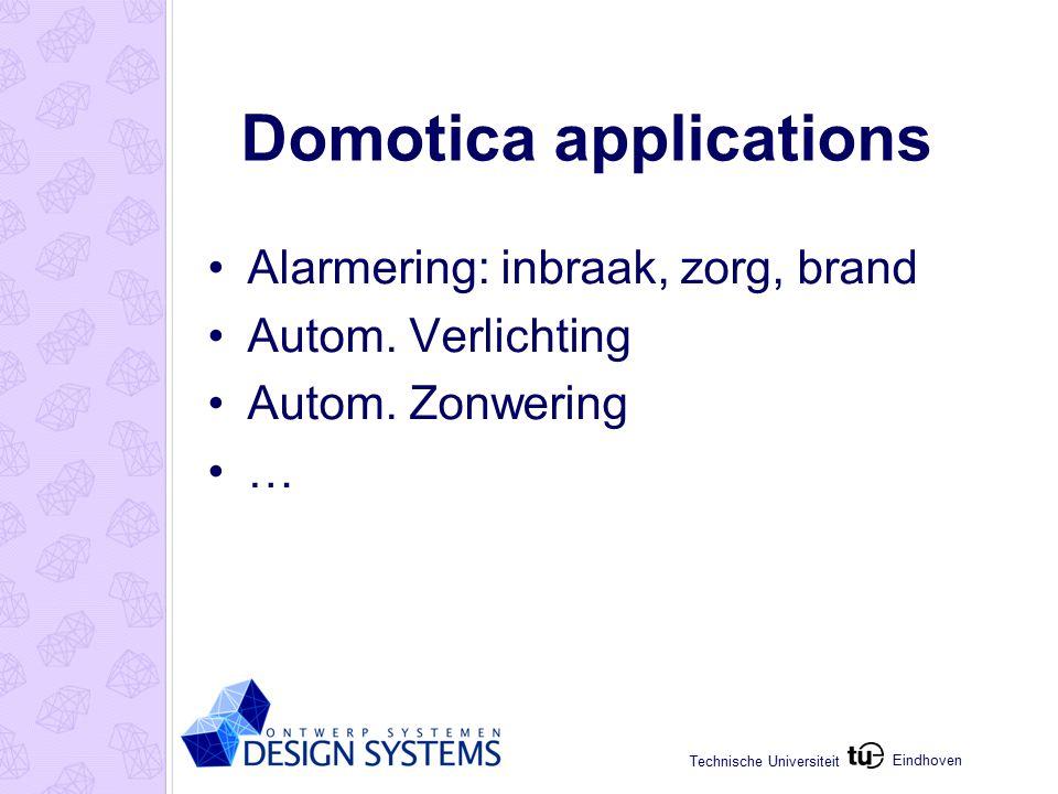 Eindhoven Technische Universiteit Domotica applications Alarmering: inbraak, zorg, brand Autom.
