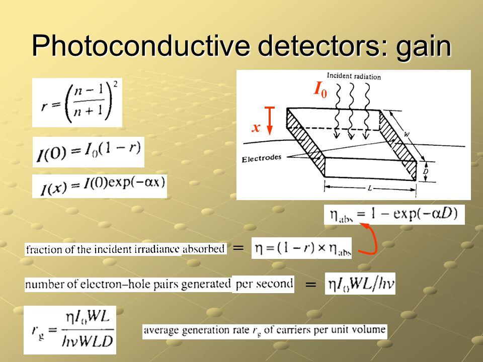 Photoconductive detectors: gain I0I0 x = =