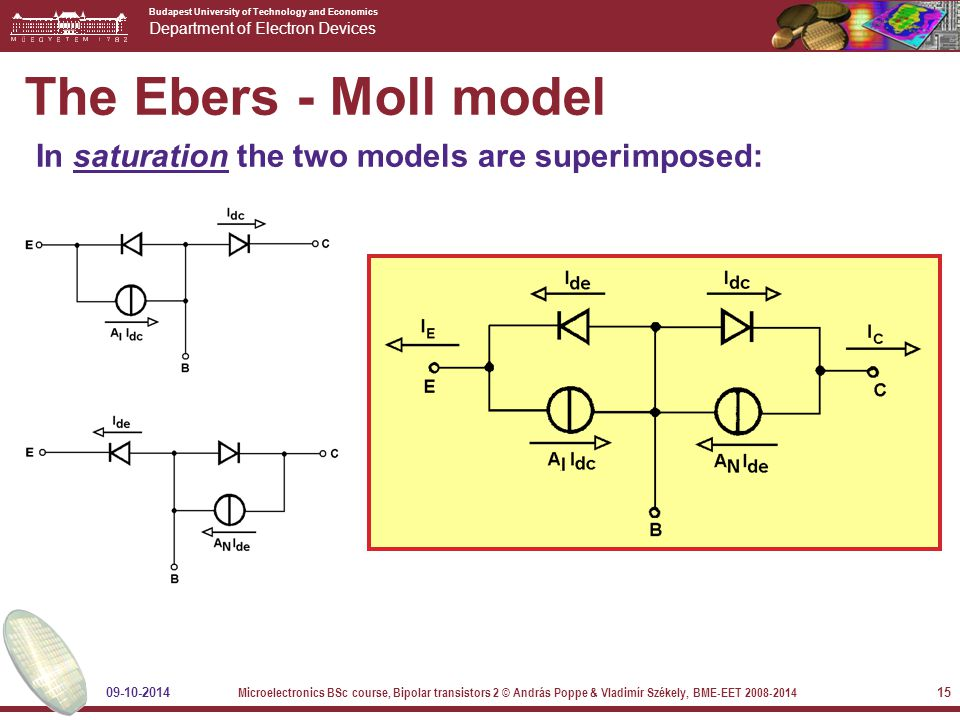 Budapest University of Technology and Economics Department of Electron Devices 09-10-2014 Microelectronics BSc course, Bipolar transistors 2 © András Poppe & Vladimír Székely, BME-EET 2008-2014 15 The Ebers - Moll model In saturation the two models are superimposed: