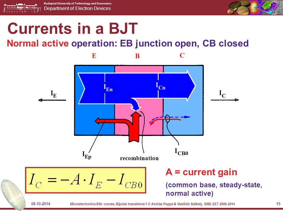 Budapest University of Technology and Economics Department of Electron Devices 08-10-2014 Microelectronics BSc course, Bipolar transistors 1 © András Poppe & Vladimír Székely, BME-EET 2008-2014 15 Currents in a BJT Normal active operation: EB junction open, CB closed A = current gain (common base, steady-state, normal active) recombination
