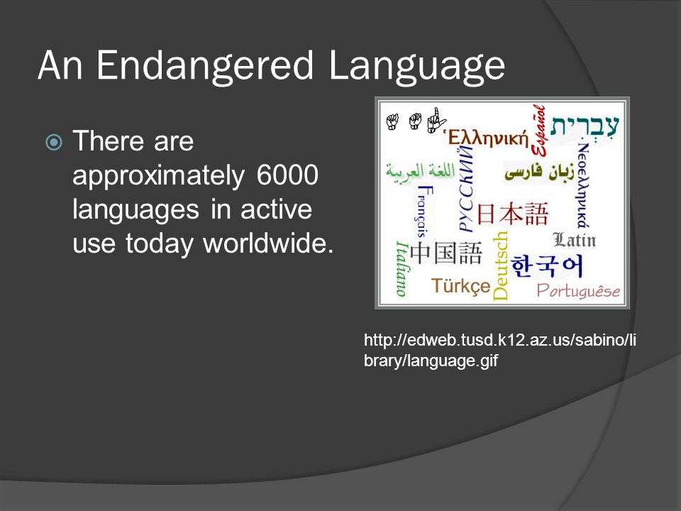 An Endangered Language  There are approximately 6000 languages in active use today worldwide. http://edweb.tusd.k12.az.us/sabino/li brary/language.gi