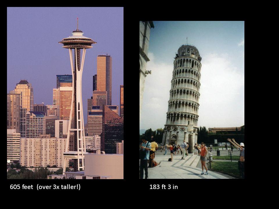 605 feet (over 3x taller!)183 ft 3 in