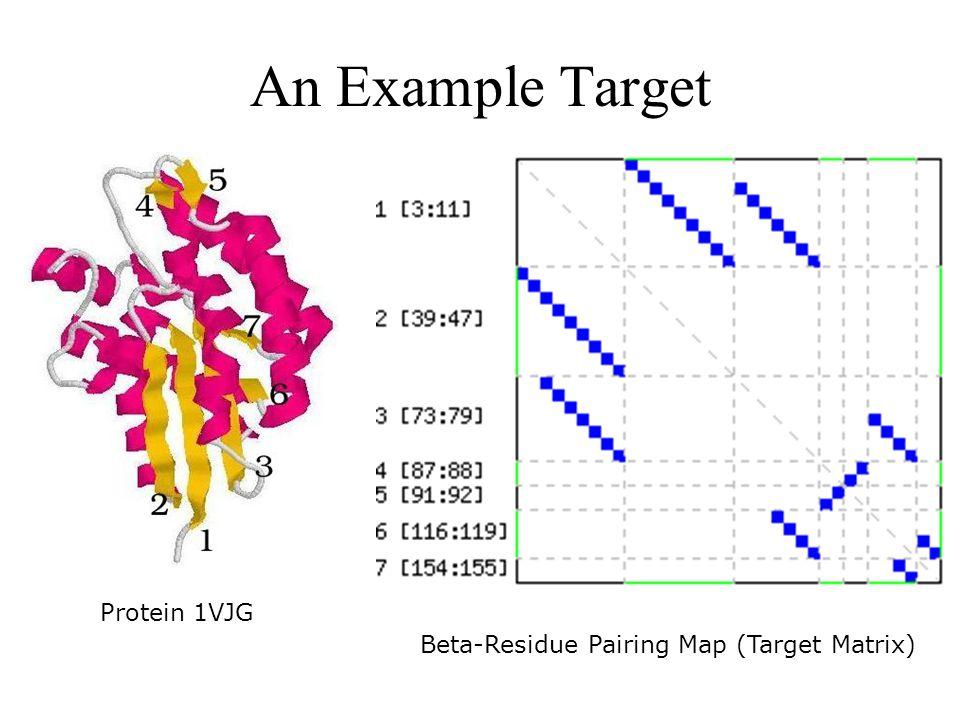 An Example Target Protein 1VJG Beta-Residue Pairing Map (Target Matrix)