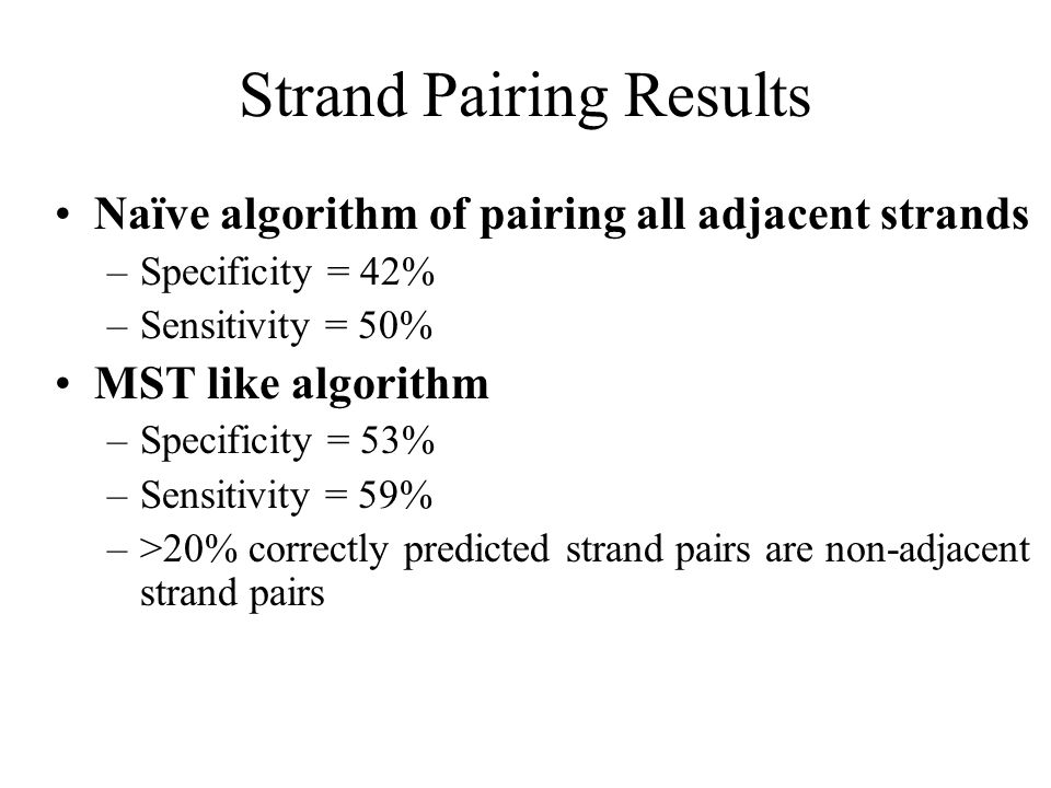 Strand Pairing Results Naïve algorithm of pairing all adjacent strands –Specificity = 42% –Sensitivity = 50% MST like algorithm –Specificity = 53% –Sensitivity = 59% –>20% correctly predicted strand pairs are non-adjacent strand pairs