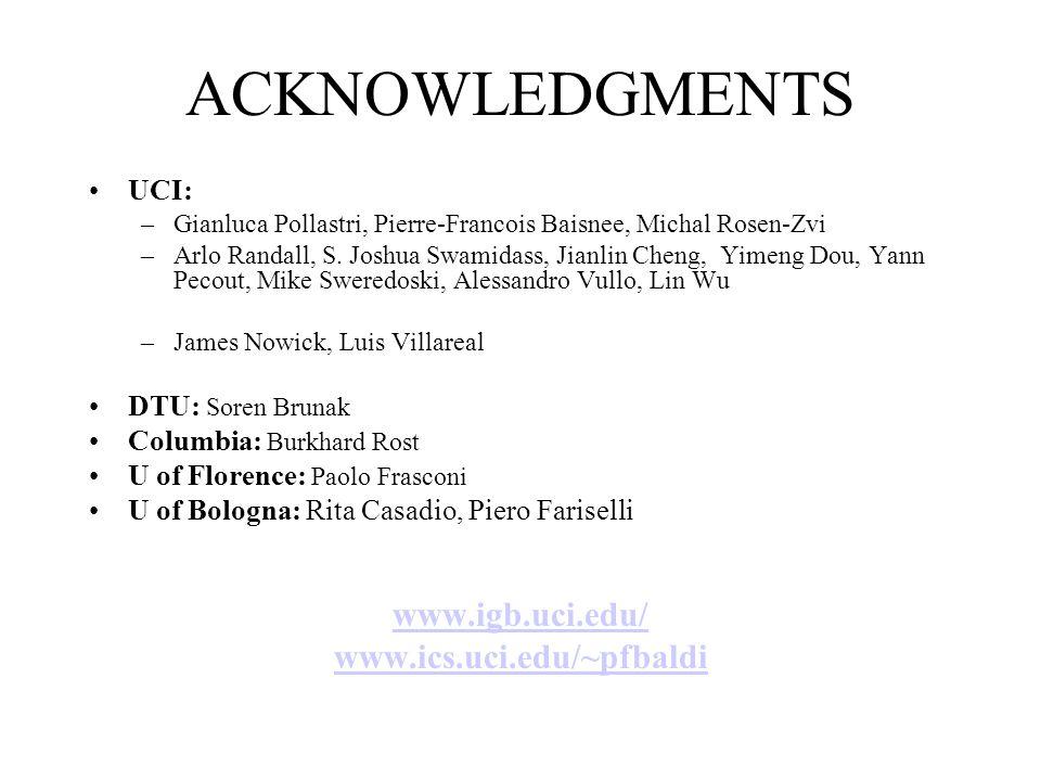 ACKNOWLEDGMENTS UCI: –Gianluca Pollastri, Pierre-Francois Baisnee, Michal Rosen-Zvi –Arlo Randall, S. Joshua Swamidass, Jianlin Cheng, Yimeng Dou, Yan