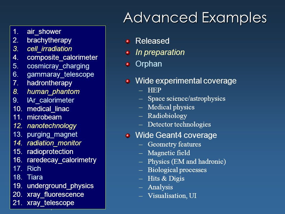 Maria Grazia Pia, INFN Genova Advanced Examples Released In preparation Orphan Wide experimental coverage –HEP –Space science/astrophysics –Medical ph