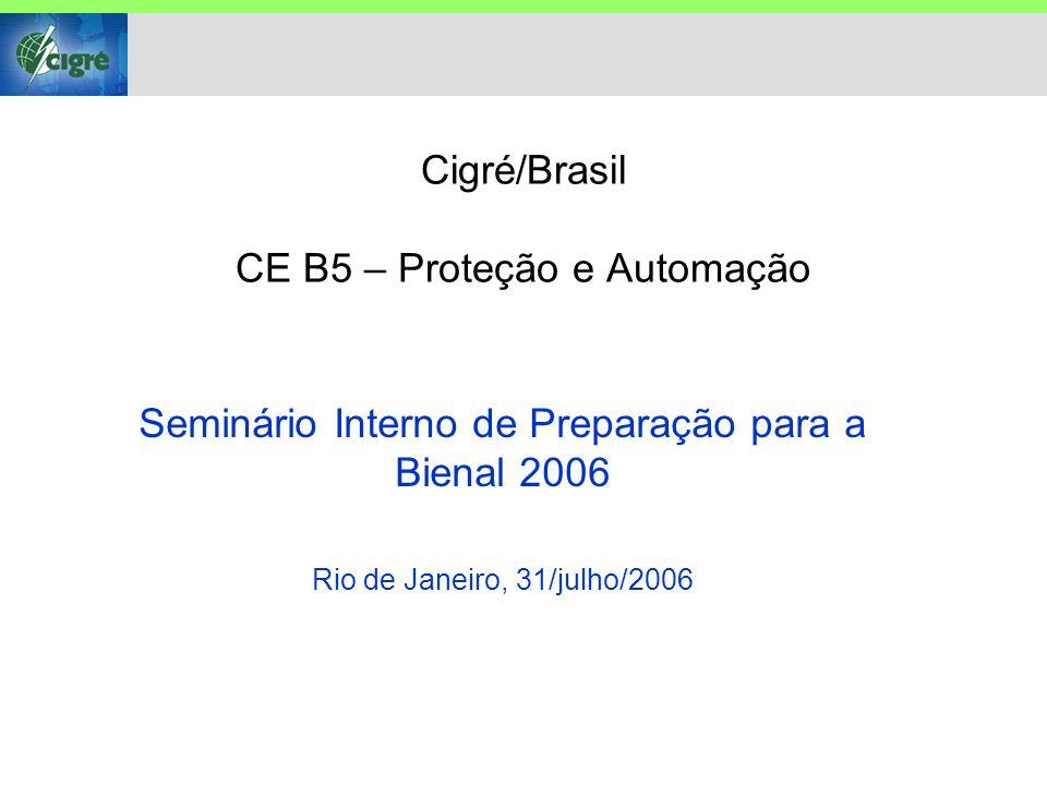 Cigré/Brasil CE B5 – Proteção e Automação Seminário Interno de Preparação para a Bienal 2006 Rio de Janeiro, 31/julho/2006