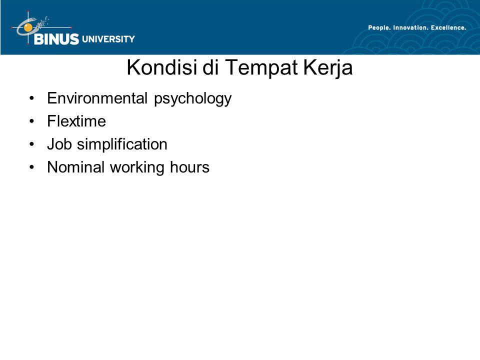 Kondisi di Tempat Kerja Environmental psychology Flextime Job simplification Nominal working hours