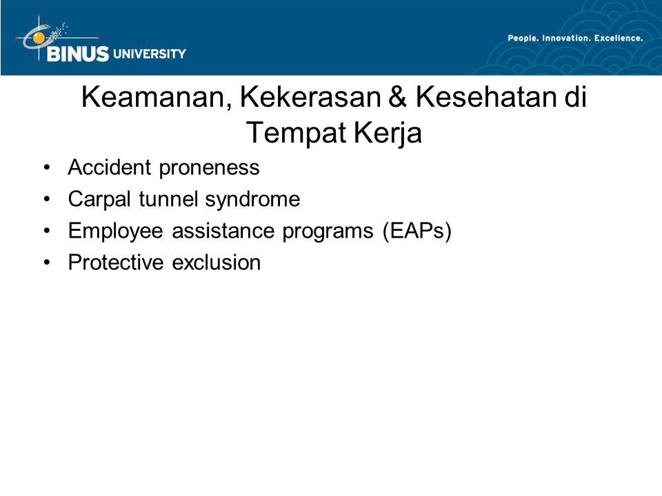 Keamanan, Kekerasan & Kesehatan di Tempat Kerja Accident proneness Carpal tunnel syndrome Employee assistance programs (EAPs) Protective exclusion