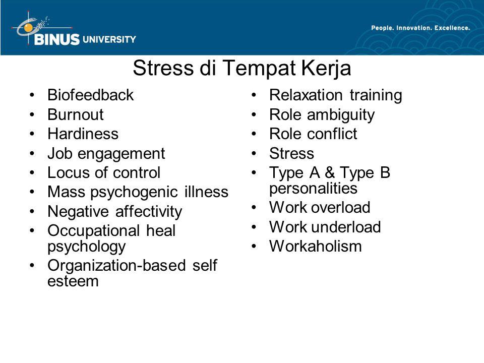Stress di Tempat Kerja Biofeedback Burnout Hardiness Job engagement Locus of control Mass psychogenic illness Negative affectivity Occupational heal p